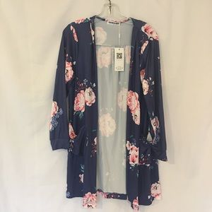 Ecowish Floral Open Cardigan NWT Size Medium